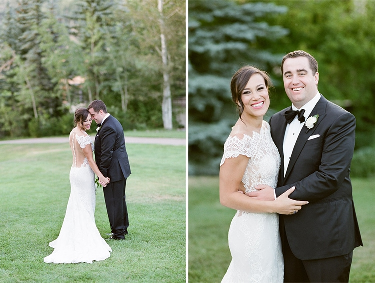 Romantic wedding session of couple holding each other close