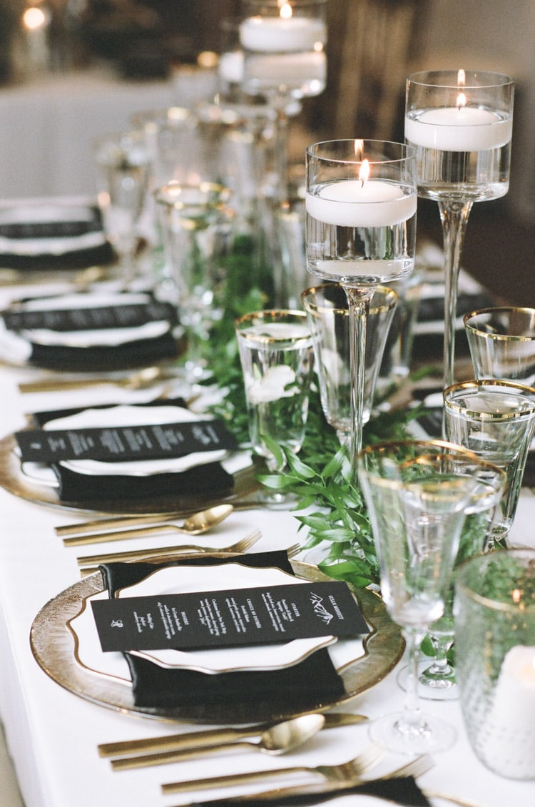 Details of wedding reception on table