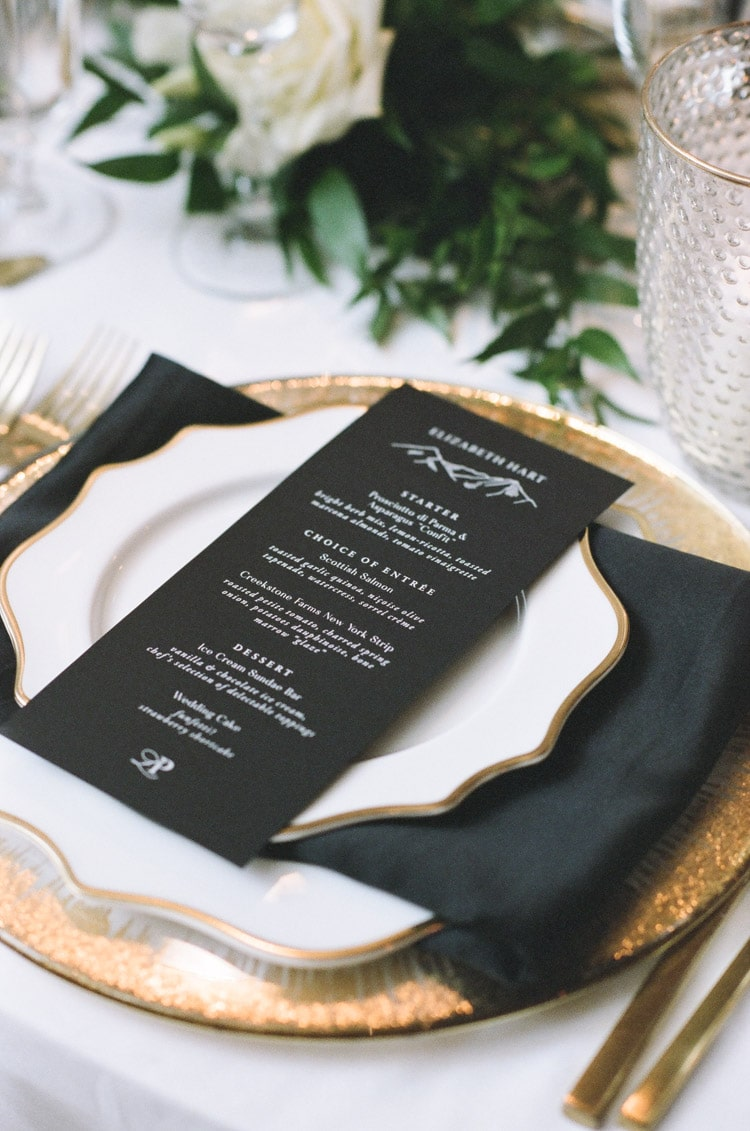 Black menu with white text on plate