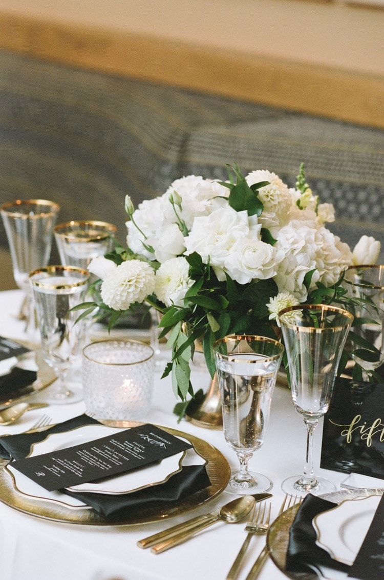 Dinner table with white floral details