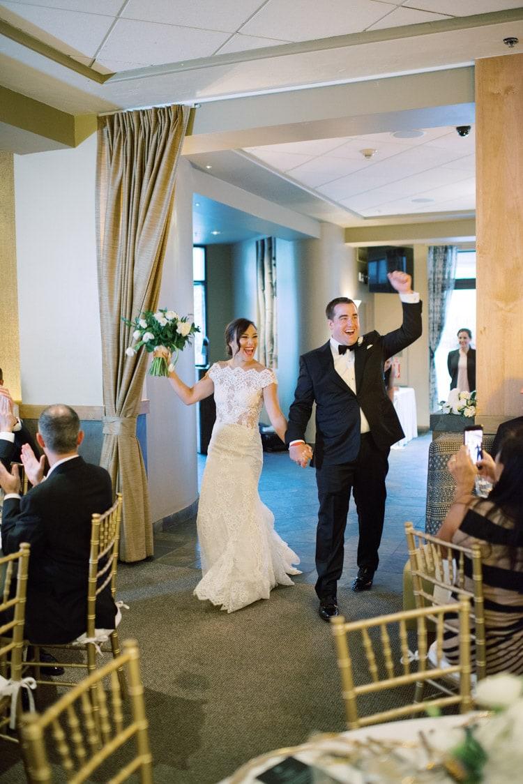 Entrance of groom & bride at wedding reception