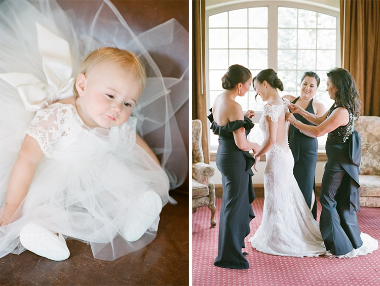 Flower girl in matching bride's outfit and bride getting ready with bridesmaids