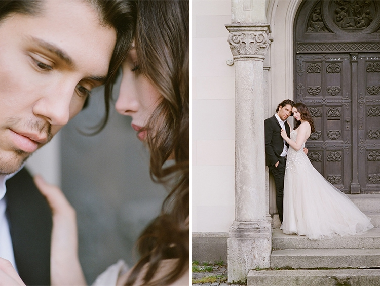 Romantic portrait of a bride and groom at their intimate elopement in Munich Germany