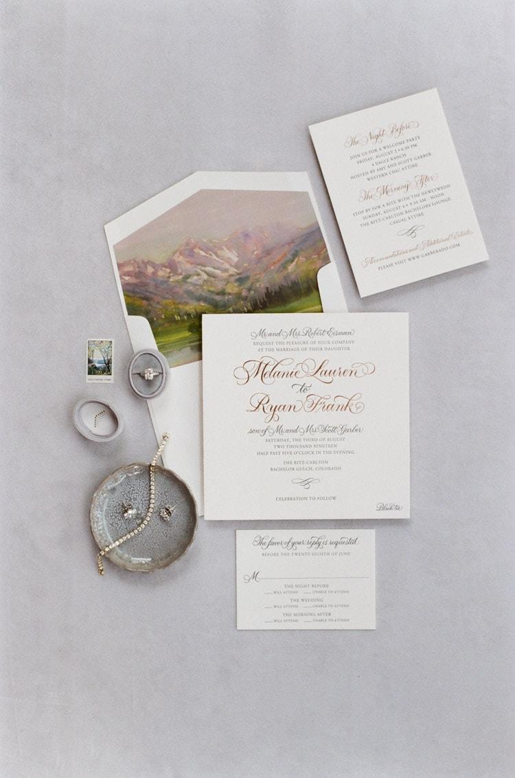Stylized Custom Wedding Invitation Suite Stationery