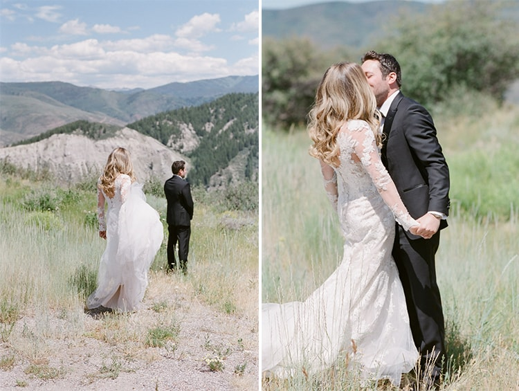 Collage of wedding couple together with backdrop of mountains