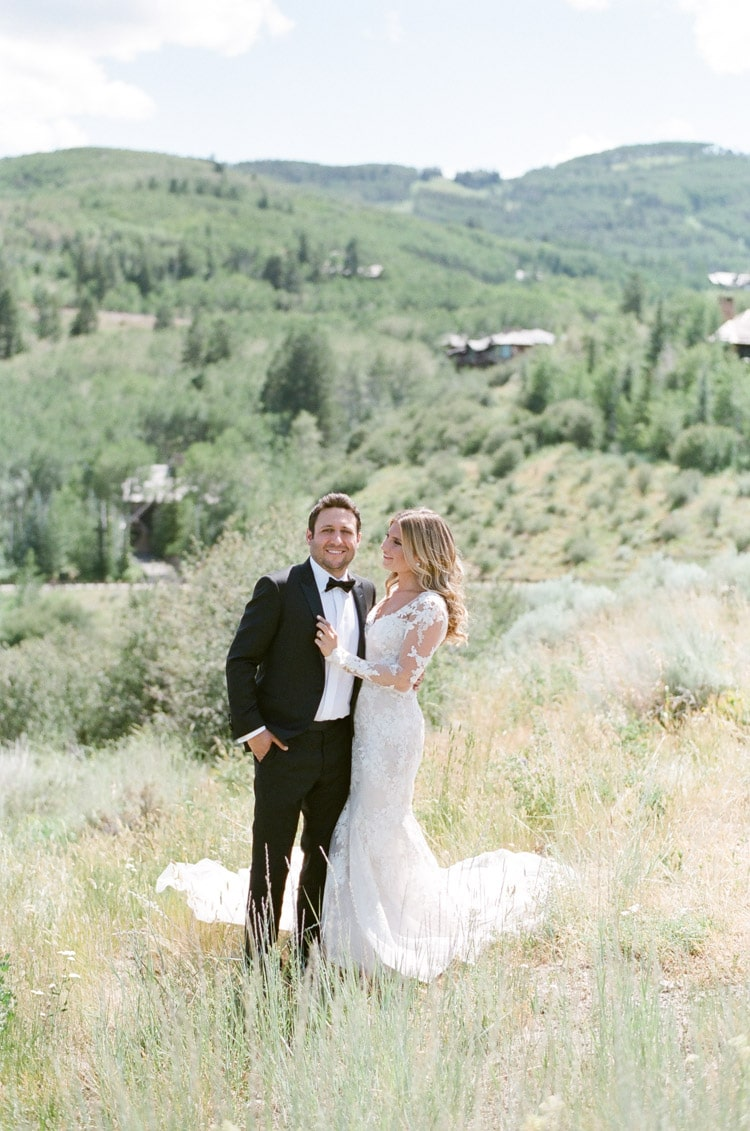 Wedding photo session of bride and groom in Colorado mountains