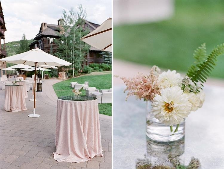 Wedding reception area outside Ritz-Carlton, luxury hotel