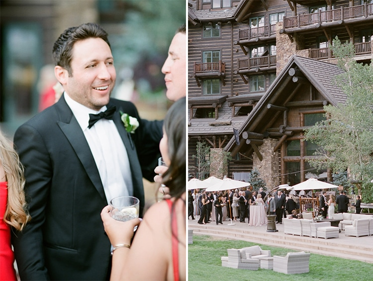 Groom on the left socializing and the outside of the Ritz-Carlton, Bachelor Gulch