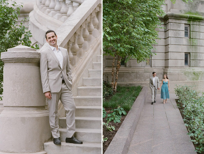 Couple posing for engagement portraits in Chicago near the Riveralk