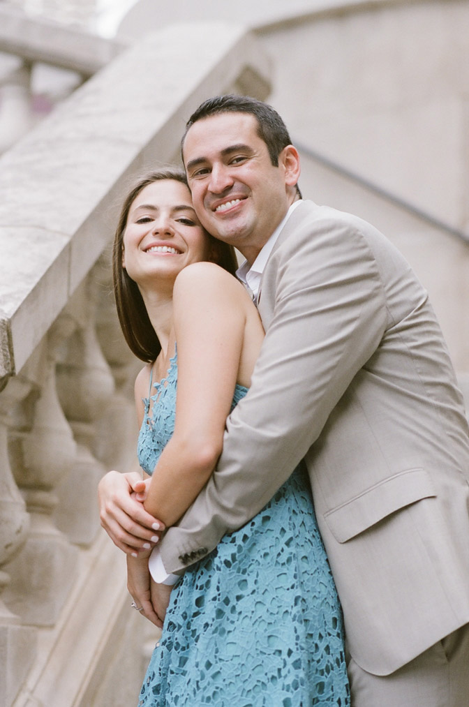 Couple embracing during Chicago engagement portraits