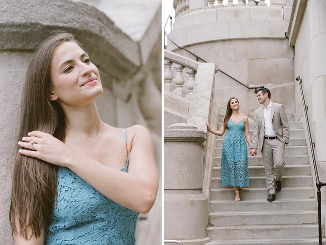 Couple descending stone staircase in Chicago during their engagement portraits