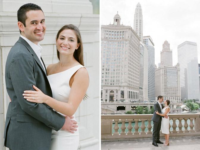 Bride and groom pose during their Chicago engagement session near the Riveralk