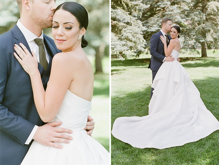 Collage of wedding couple embracing and groom kissing side of bride's head
