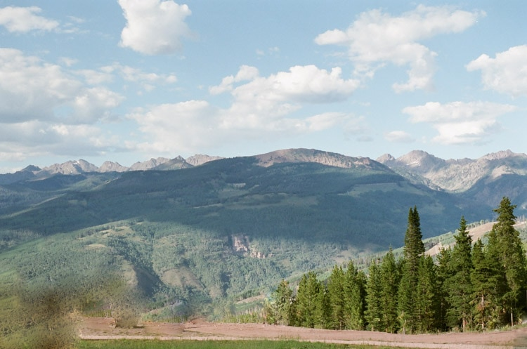 Vail, Colorado mountains and pine trees