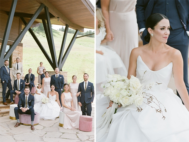 Collage of bridal party together smiling and focus on bride
