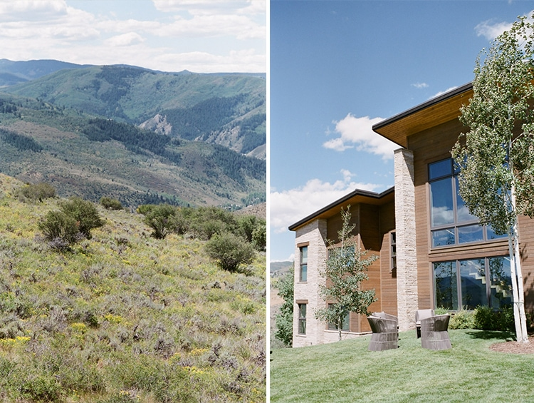 Scenic view of Vail Colorado mountains and alpine inspired building