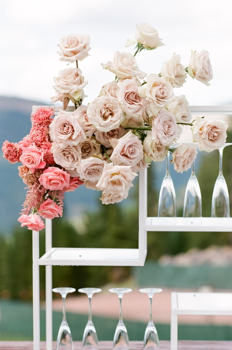 Colorful floral on white bar shelf