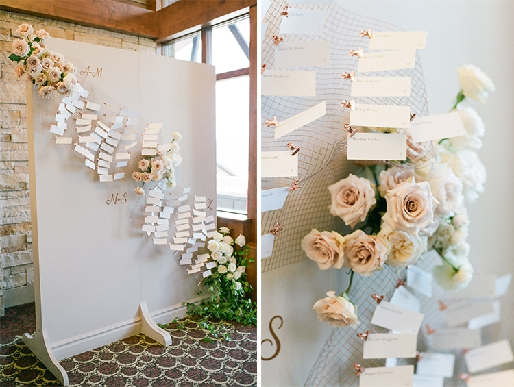 Elegant elements of place card wall