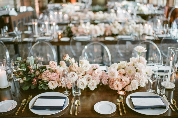 Romantic color themed reception tables