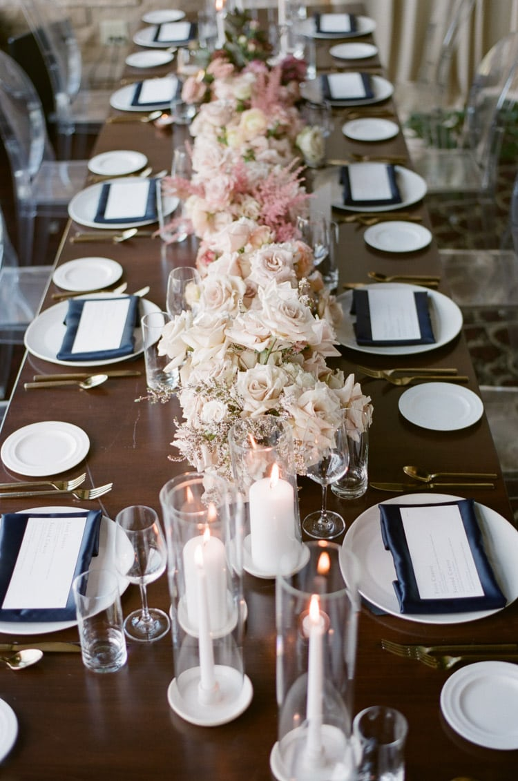 Floral centerpiece at wedding reception table