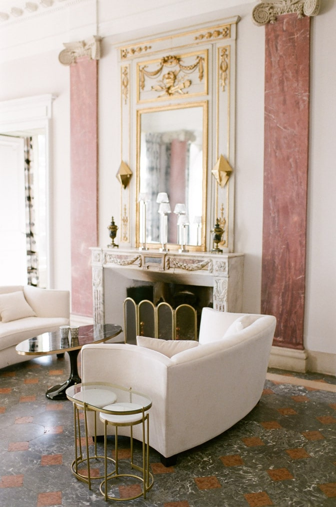 Interior of Château Martinay in Provence featuring blush tones and neutral furnishings