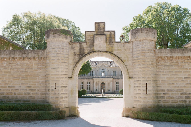 Castle entrance and facade of Château Martinay in Provence, France