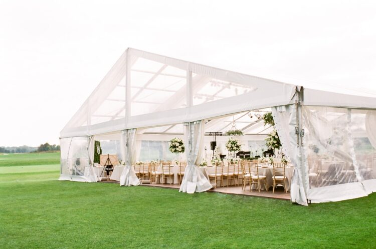 Large white tent set-up in Chicago