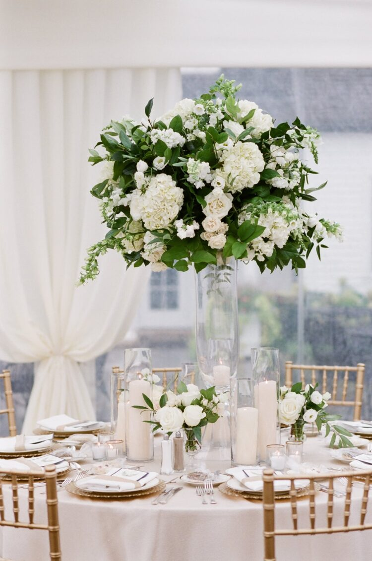 Organic floral centerpiece on display at a Chicago tent wedding