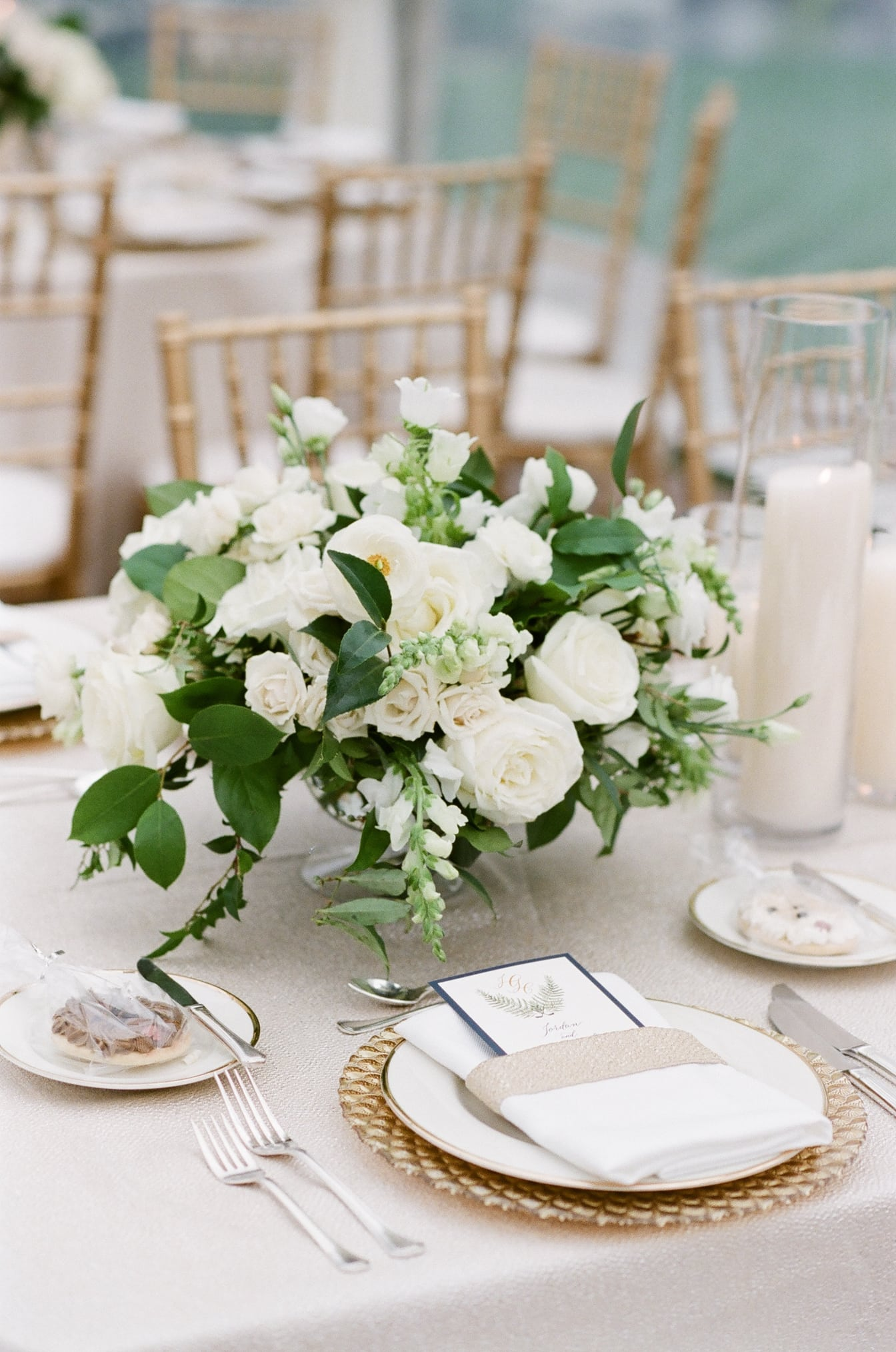 Decorated tablescape with white decor