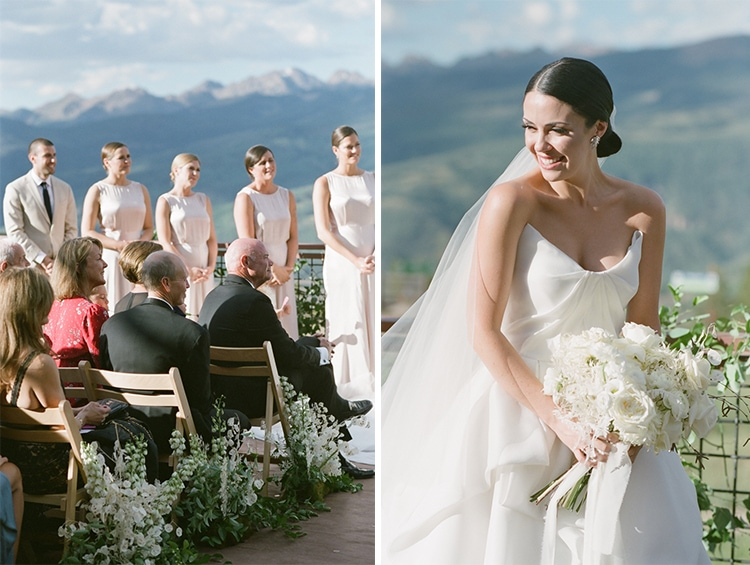 Bride smiling during her wedding ceremony at the 10th in Vail