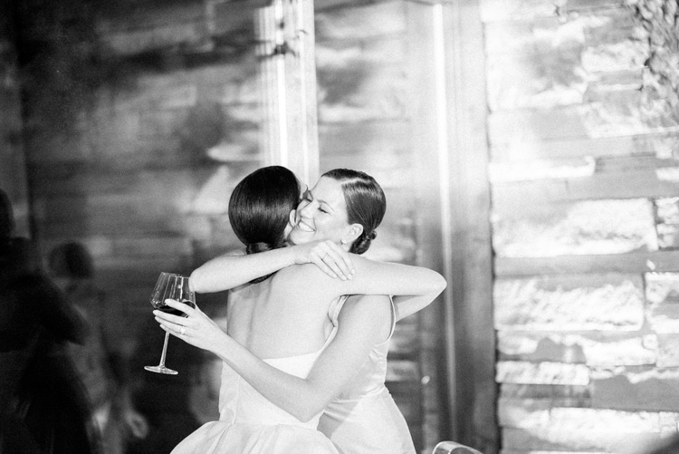 Bride embracing her made of honor during her wedding reception in Vail