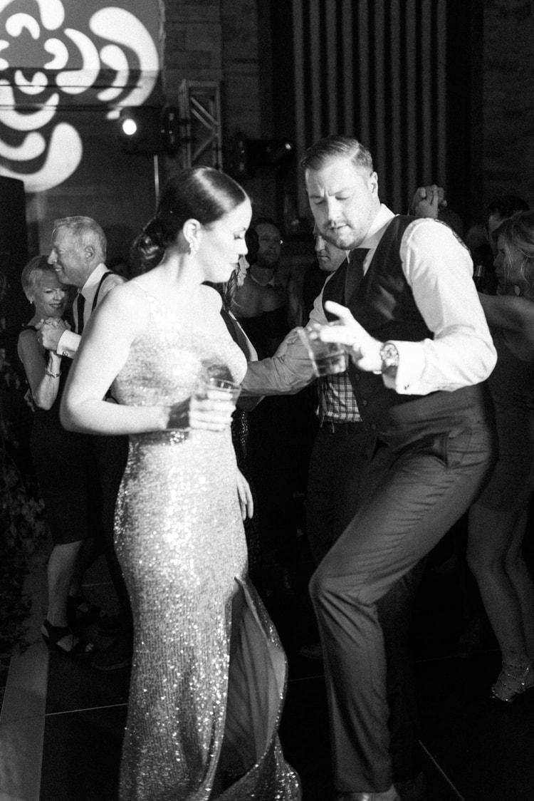 Bride and groom dancing at their wedding reception in Colorado
