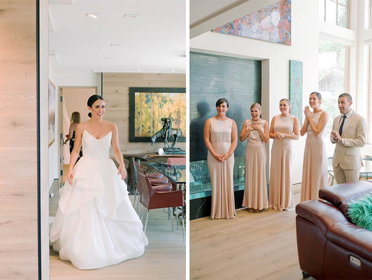 First look of bride and bridesmaids at Vail wedding