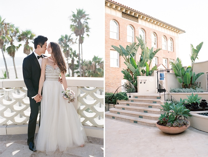 Bride and groom on their wedding day at Casa del Mar in Santa Monica, California wedding photographer Tamara Gruner