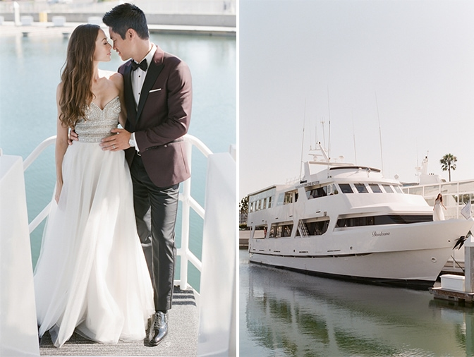 Bride and groom standing on a yacht and hugging each other in Santa Monica in California