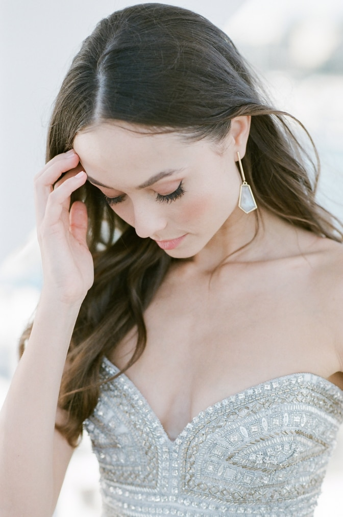 Close-up of bride touching her hair at Casa del Mar, Santa Monica