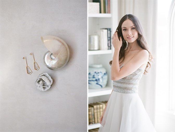 Bride wearing her Naeem Khan wedding gown and looking into the camera for California wedding photographer Tamara Gruner