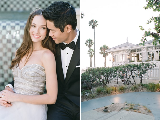 Bride and groom embracing each other at Casa del Mar in Santa Monica for California wedding photographer Tamara Gruner