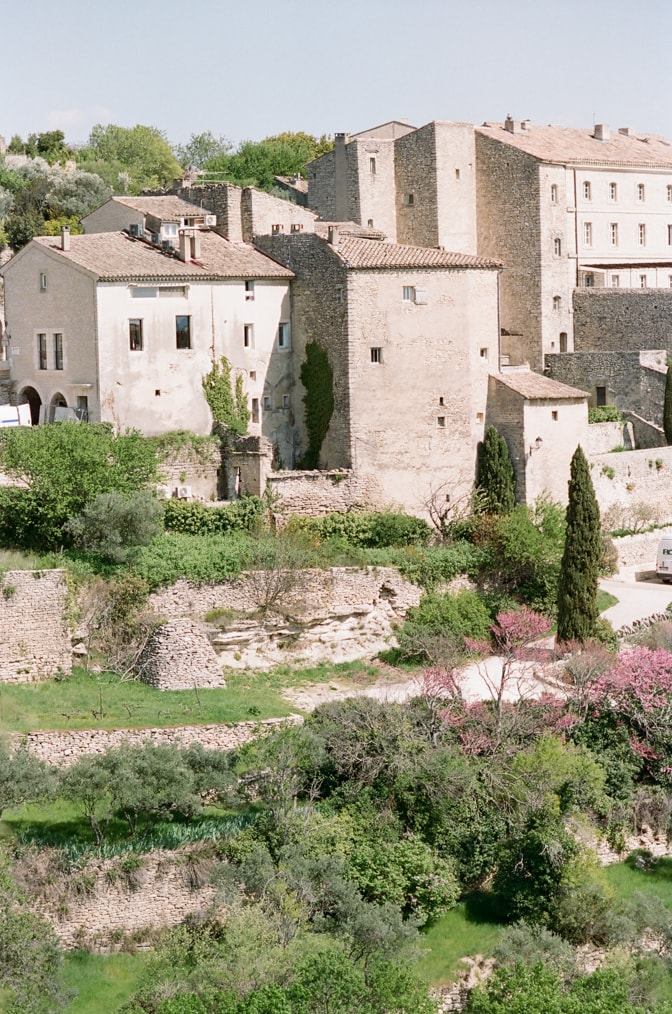 Closeups of medieval buildings in the Provencal village of Gordes