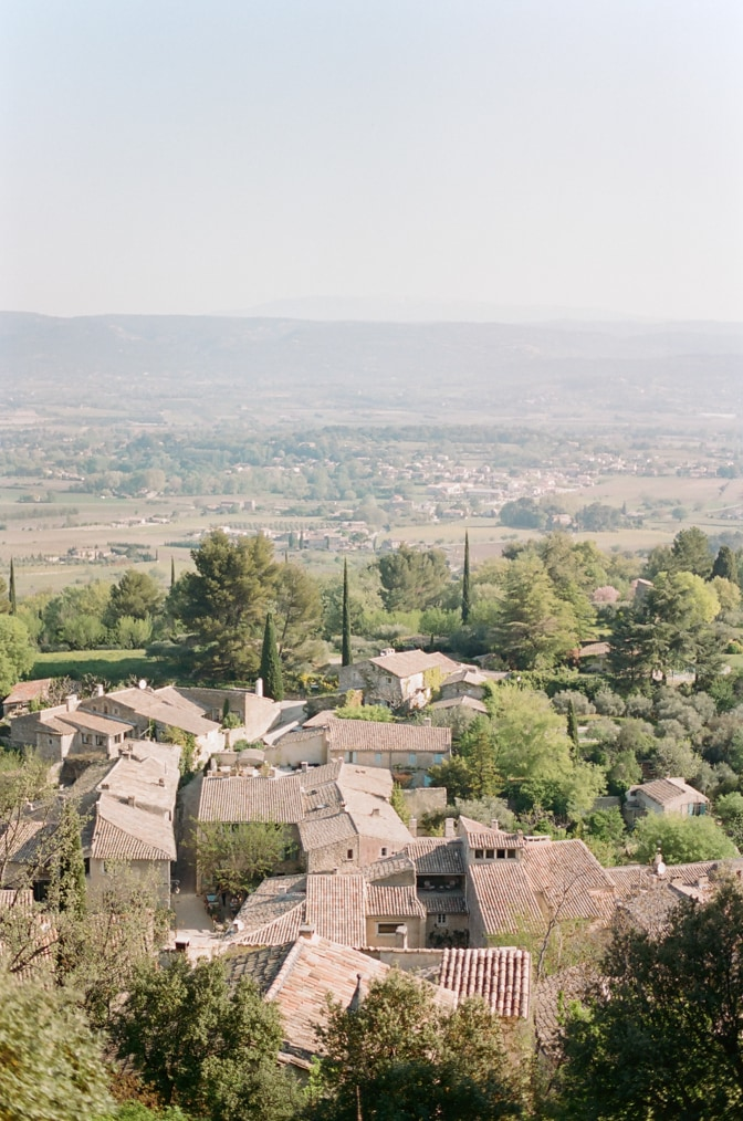 Oppède le Vieux from afar photographed by luxury destination wedding photographer Tamara Gruner