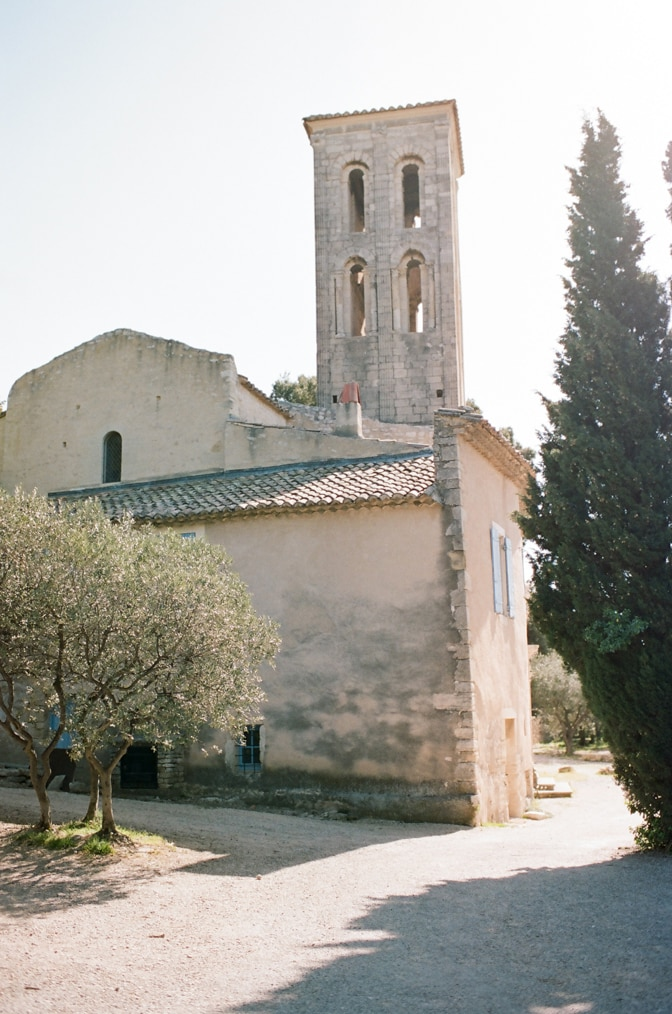 Church of Venasque in Provence during sunset