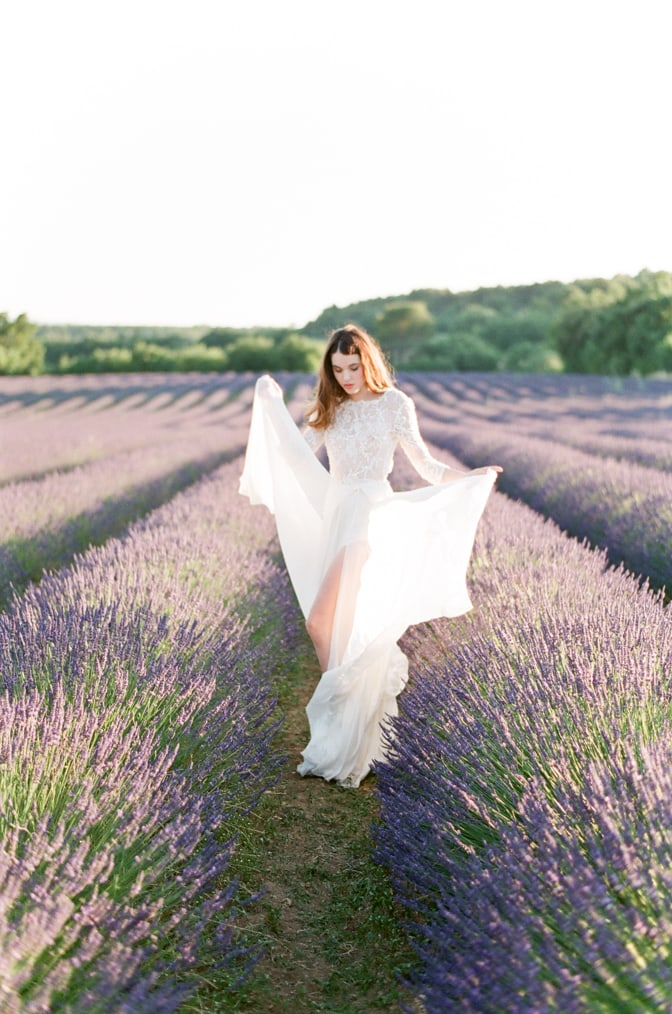 Bride standing in the lavender fields of the Luberon in Provence