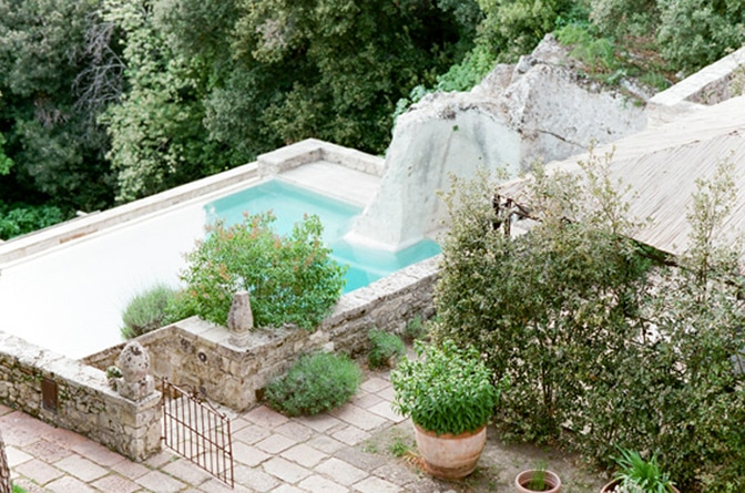 Swimming pool grotto of Borgo Pignano in Tuscany, Italy