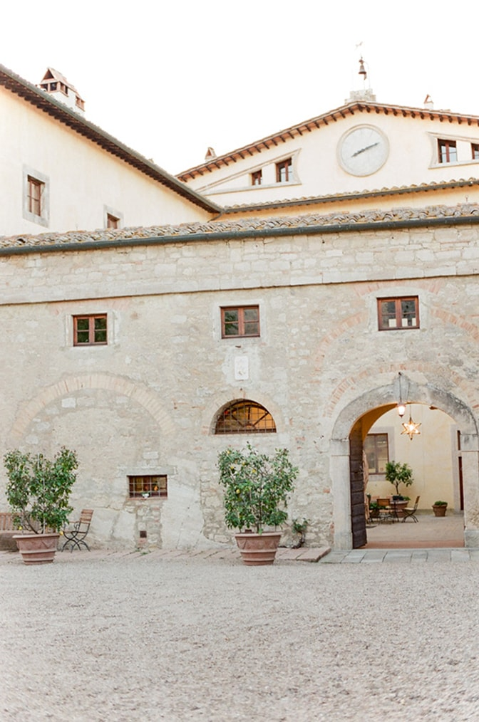 Entrance of Borgo Pignano, a luxury destination wedding venue