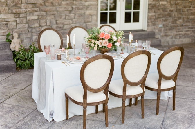 Luxurious wedding reception table at Castle Cliff Estate in Colorado