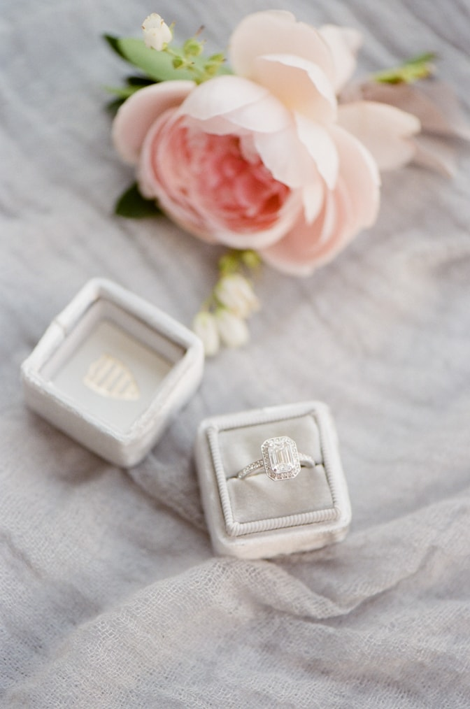 Closeup of a luxurious engagement ring in a Mrs Box