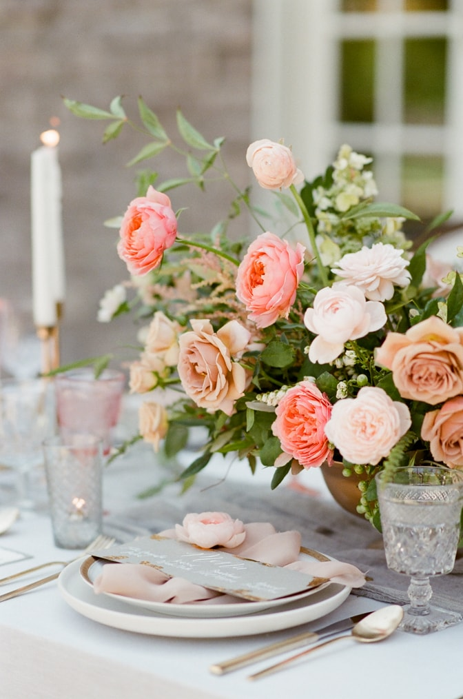 Luxurious floral centerpiece with garden roses