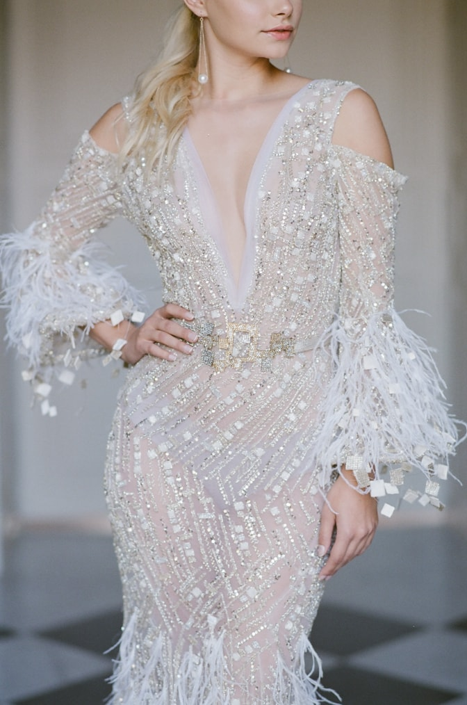 Closeup of a bridal gown made by Ziad Nakad
