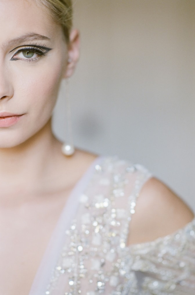 Closeup of a bride with detailed view of her eye makeup