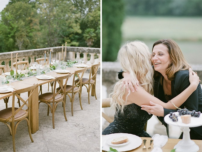 Mom kissing bride at French chateau rehearsal